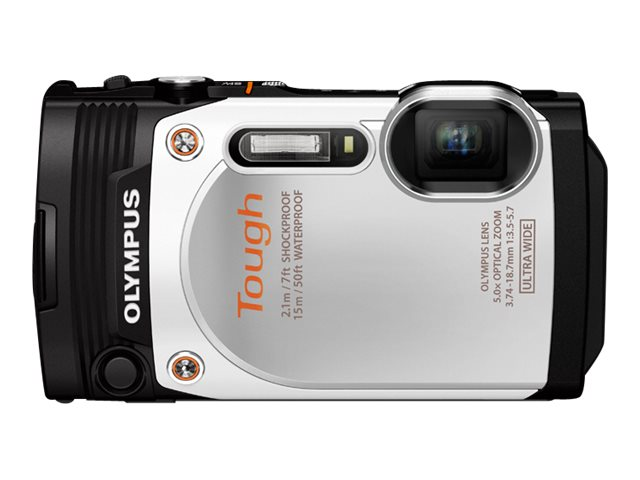 Olympus Stylus Tough TG-860 Digital Camera, 16 MP, White, V104170WU000, 18478248, Cameras - Digital - Point & Shoot