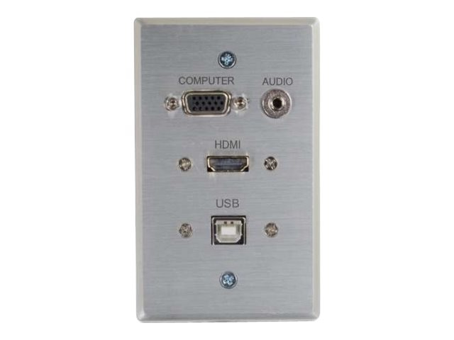 C2G RapidRun HDMI Single Gang Wall Plate, VGA, Stereo Audio, USB, Aluminum