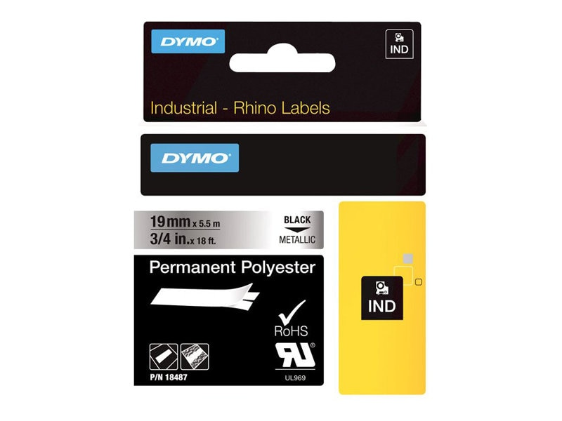 DYMO RhinoPRO Metallized Permanent Polyester Tape 3 4 x 18', 18487, 4821421, Paper, Labels & Other Print Media