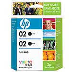 HP 02 Black Ink Cartridges w  Vivera Ink (Dual Pack), C9500FN#140, 8272650, Ink Cartridges & Ink Refill Kits