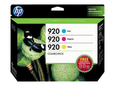 HP 920 (B3B30FN) 3-pack Cyan Magenta Yellow Original Ink Cartridges w  Photo Paper