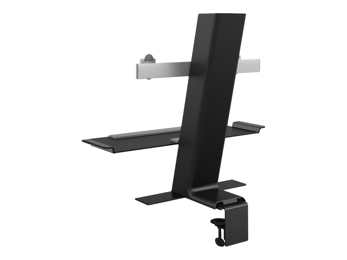 Humanscale QuickStand with Dual Monitor Support, Clamp Mount, Black, QSBC24CNN