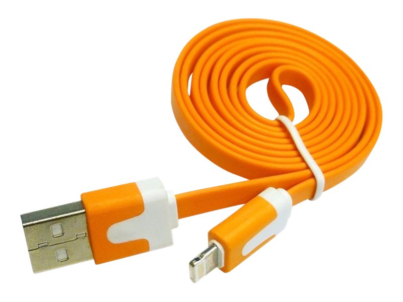 4Xem Lightning to USB 2.0 Type A M M Flat Cable, Orange, 3ft