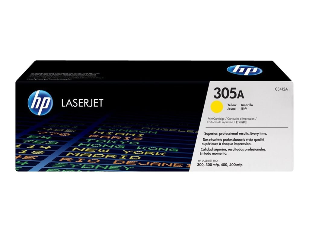 HP 305A (CE412A) Yellow Original LaserJet Toner Cartridge for HP LaserJet Pro Printers, CE412A, 13592092, Toner and Imaging Components
