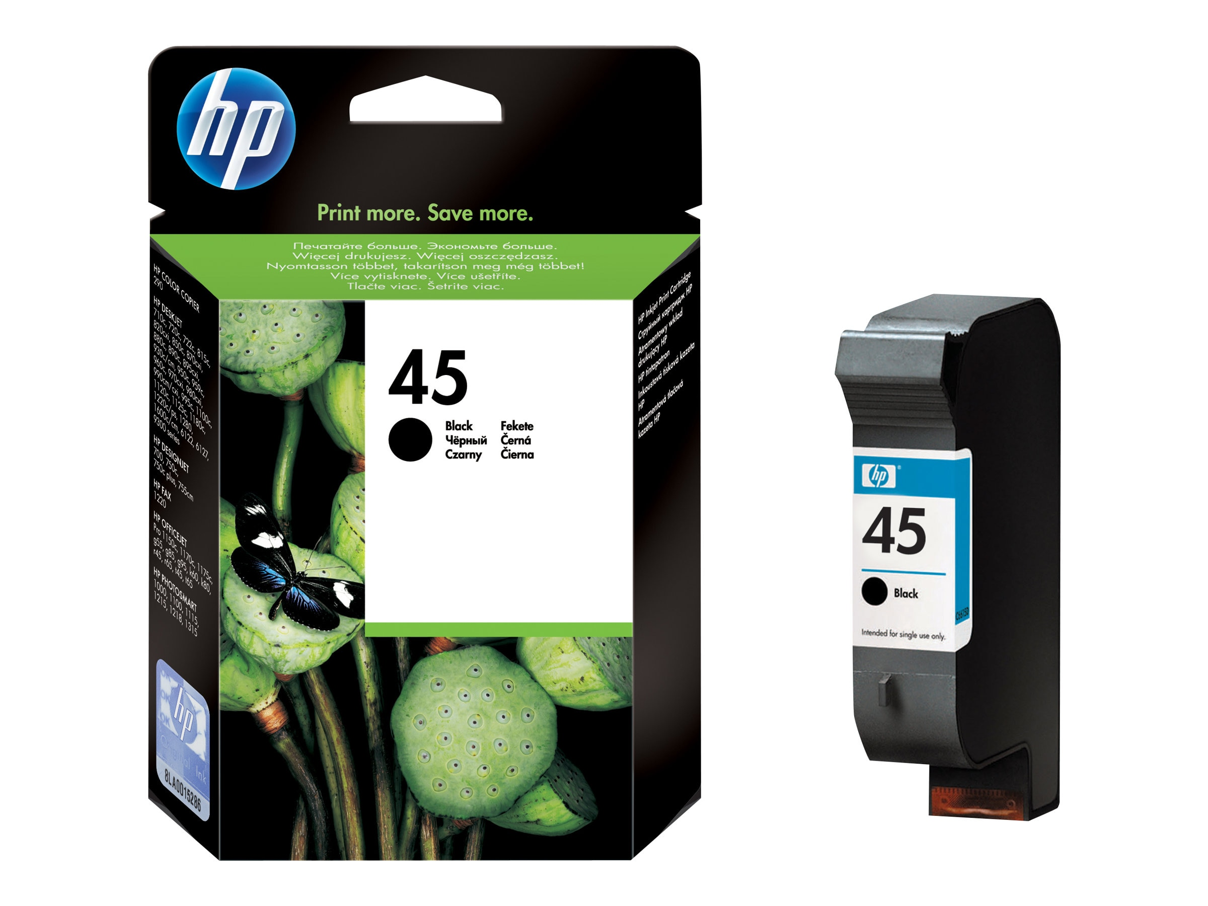 HP 45 (51645A) Black Original Ink Cartridge, 51645A#140, 9884949, Ink Cartridges & Ink Refill Kits