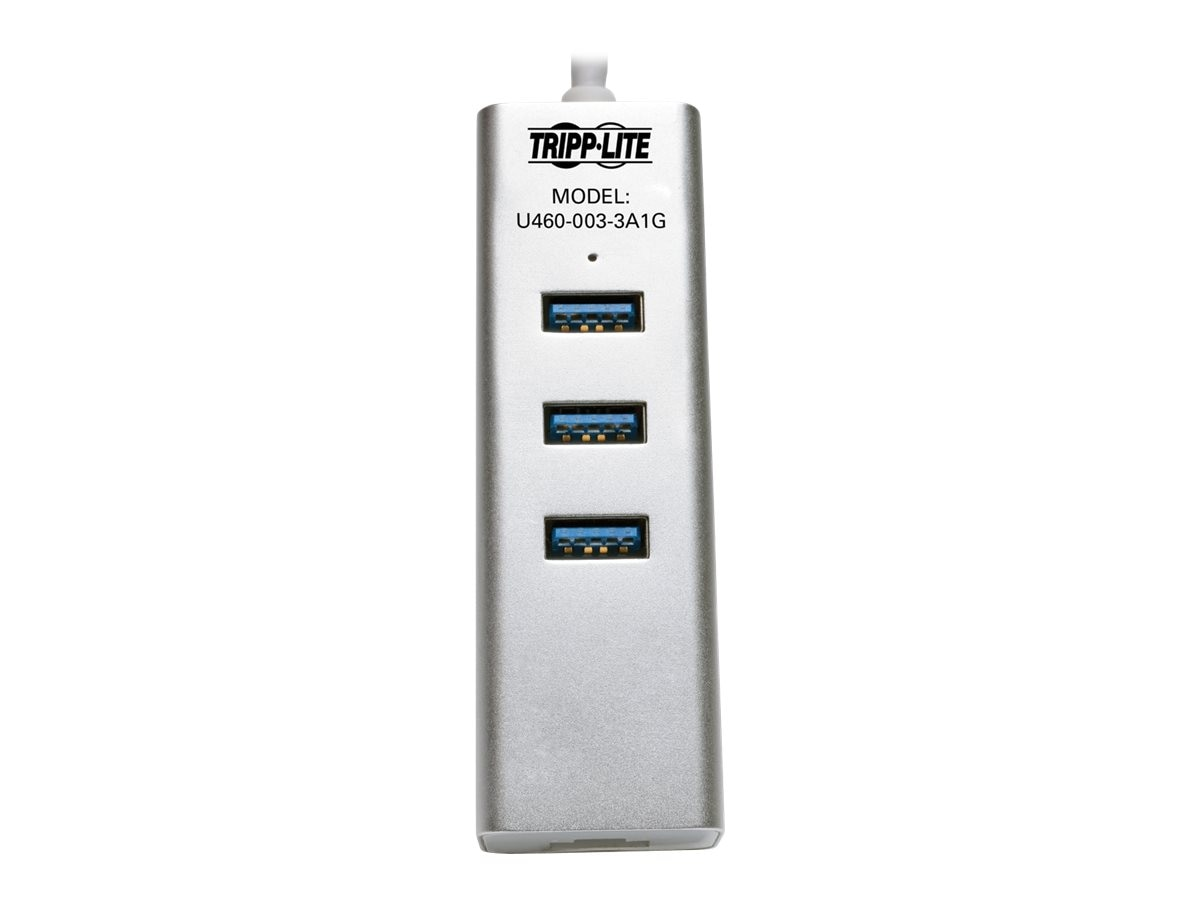 Tripp Lite Portable USB 3.1 Gen 1 Gigabit Ethernet Adapter with 3-Port Hub, Aluminum, U460-003-3A1G