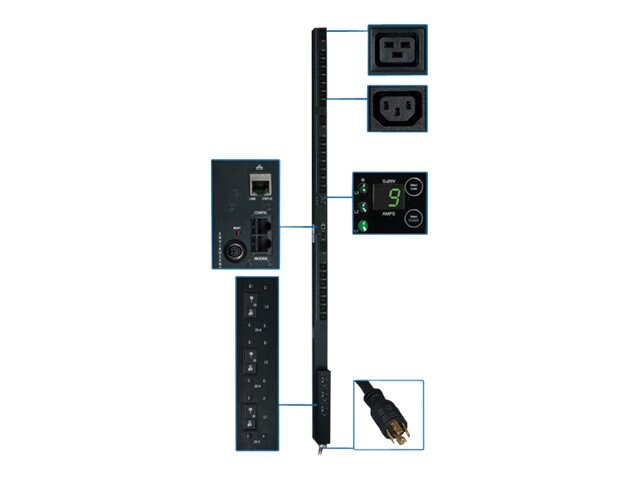 Tripp Lite PDU 3-Phase Switched 208V 8.6kW L21-30P (21) C13 (3) C19 0U RM, PDU3VSR10L2130, 12428362, Power Distribution Units