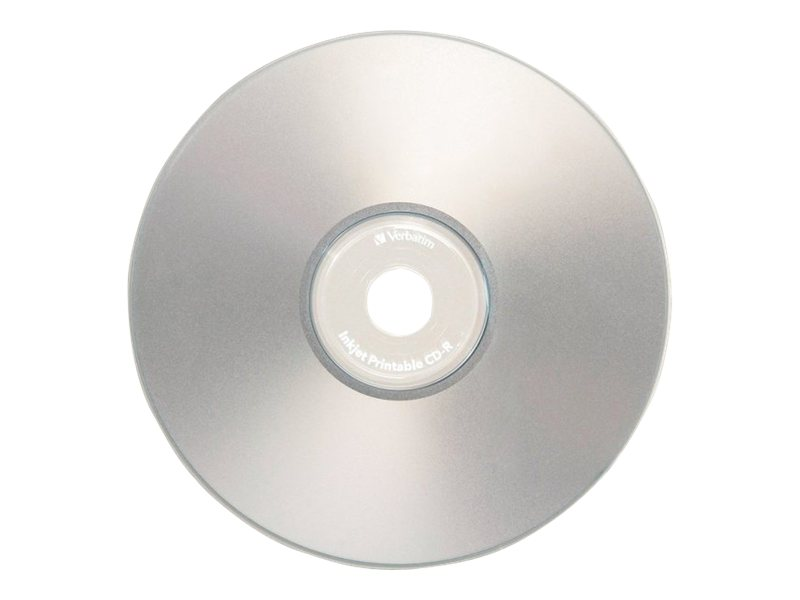 Verbatim 52x 700MB 80min. Silver Inkjet Printable CD-R Media (10-pack), 96933, 14345253, CD Media