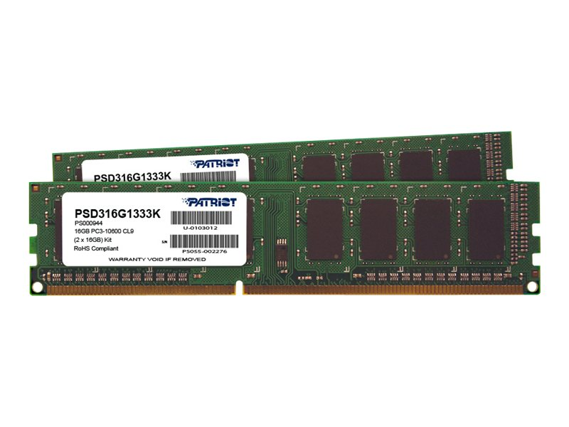 Patriot Memory 16GB PC3-10600 240-pin DDR3 SDRAM DIMM Kit, PSD316G1333K