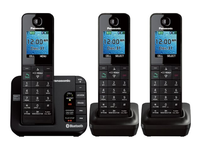 Panasonic Link2Cell BT Cordless Phone w  Answering Machine & (3) Handsets - Black, KX-TGH263B, 17729447, Telephones - Consumer