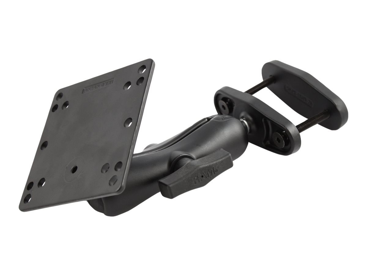 Ram Mounts 2.5 Max Width Clamp Mount with 1.5 Ball Double Socket Arm and 4.75 Square Base, RAM-246-247U-25