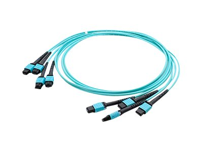 ACP-EP 4xMPO to 4xMPO F F 50 125 OM4 Multimode LSZH Duplex Fiber Cable, Aqua, 3m, ADD-TC-3M48-4MPF4