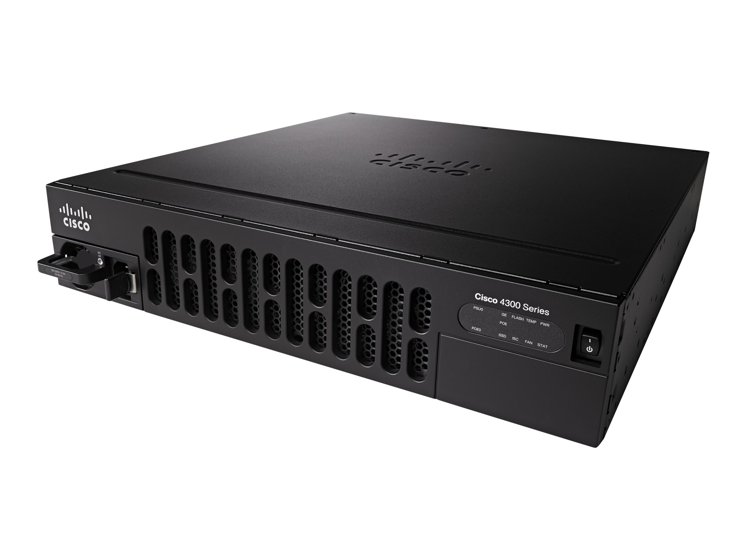 Cisco SR 4351 with 3 onboard GE, 3 NIM slots, 1 ISC slot, 2 SM slots, 4 GB Flash Memory default, 4 GB DRAM
