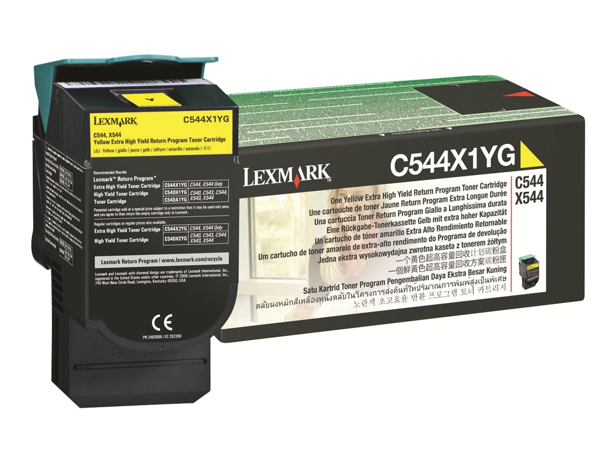 Lexmark Yellow Extra High Yield Return Program Toner Cartridge for C544 Series Printers & X544 Series MFPs
