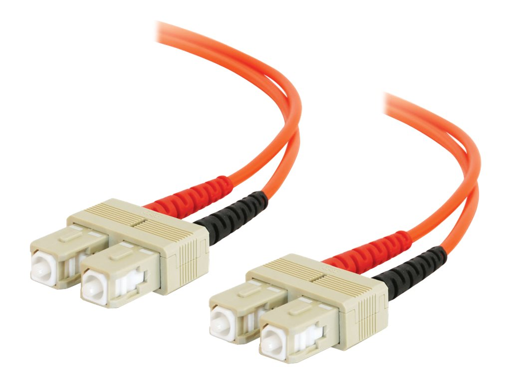 C2G Fiber Patch Cable, SC-SC, 62.5 125, Duplex, MM, Orange, 2m, TAA