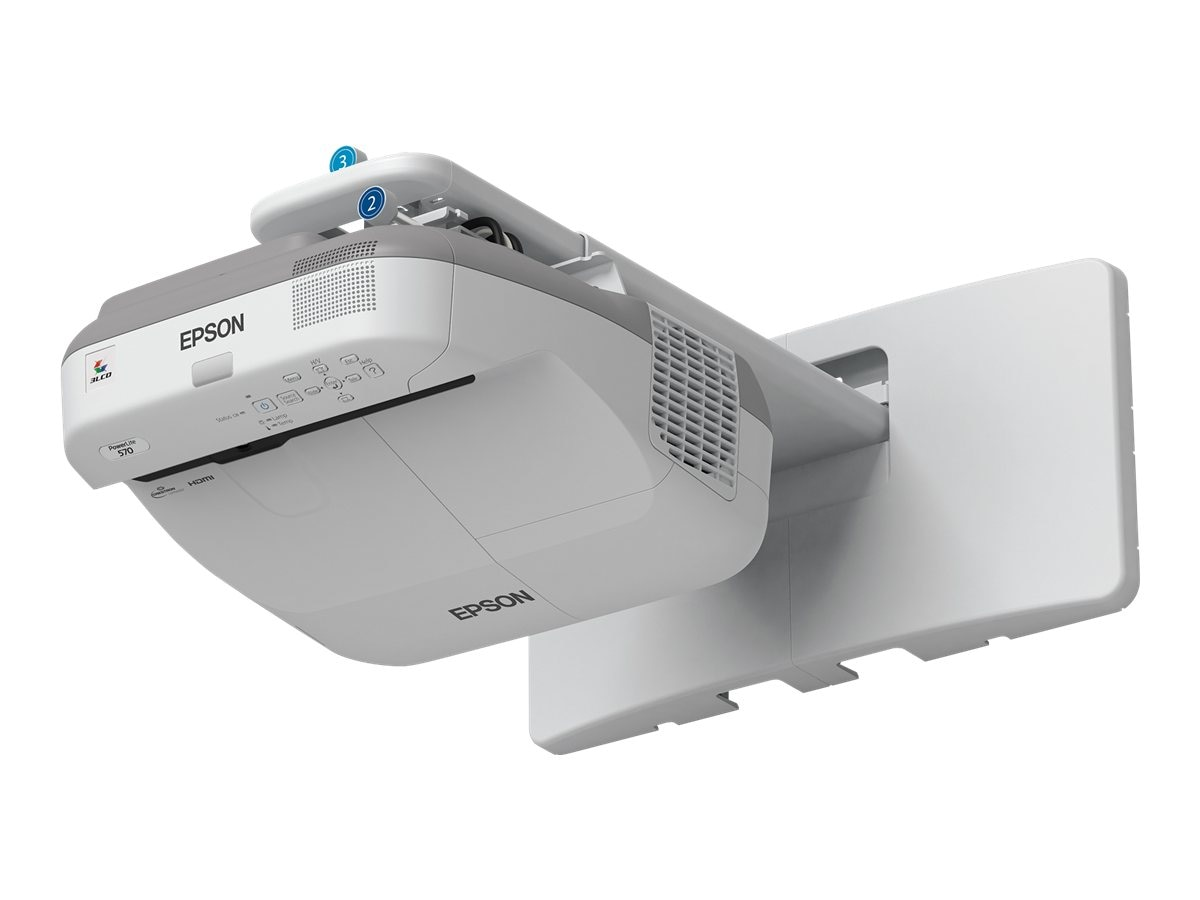 Epson PowerLite 570 XGA 3LCD Projector, 2700 Lumens, White, V11H605020, 16895953, Projectors