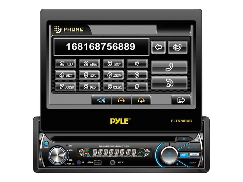 Pyle 7'' Single DIN In-Dash Detachable Motorized Touch Screen Monitor with Bluetooth Receiver, PLTS78DUB