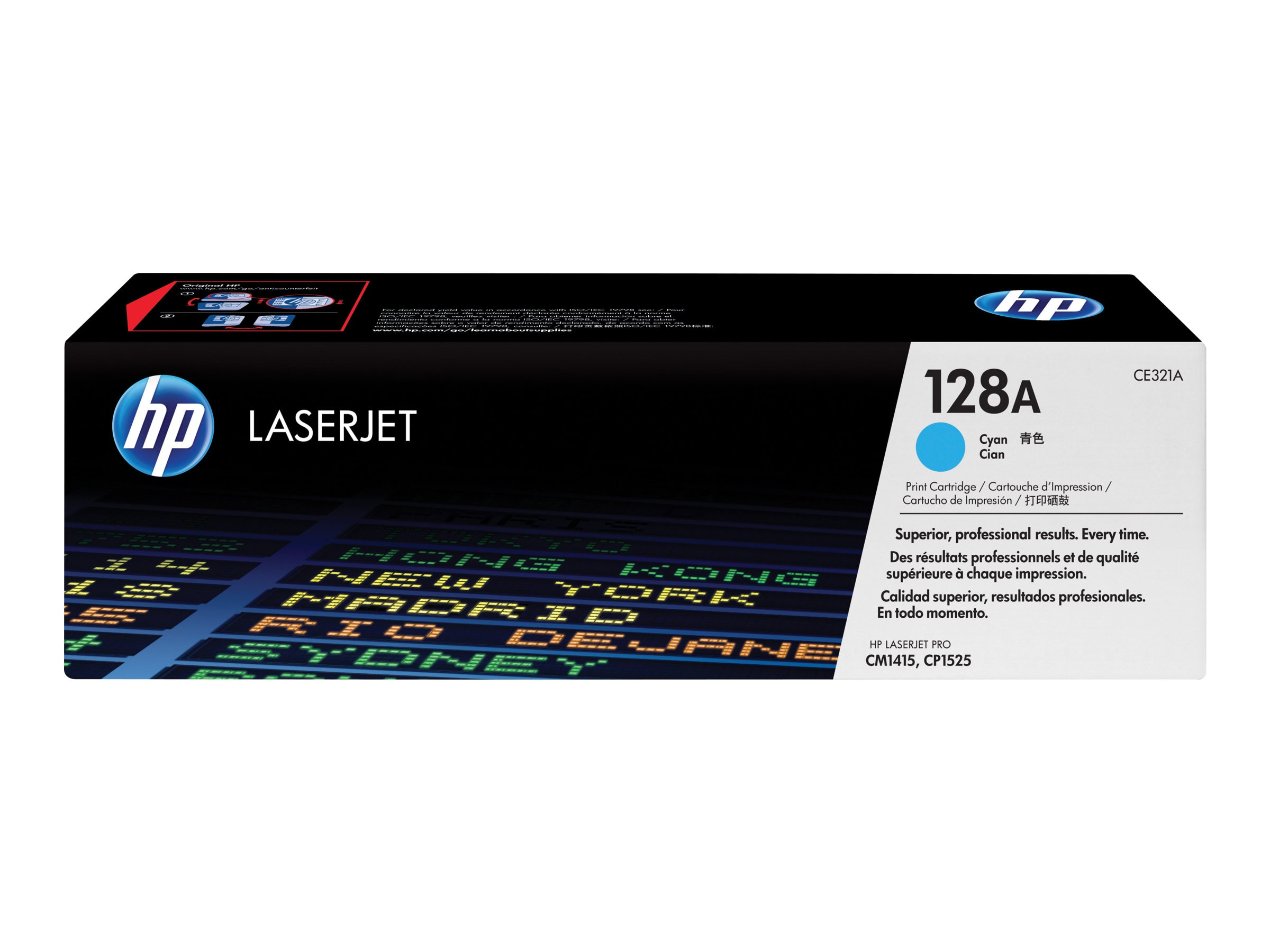 HP 128A (CE321A) Cyan Original LaserJet Toner Cartridge for HP LaserJet Pro CM1415fnw & CP1525nw, CE321A, 11845463, Toner and Imaging Components