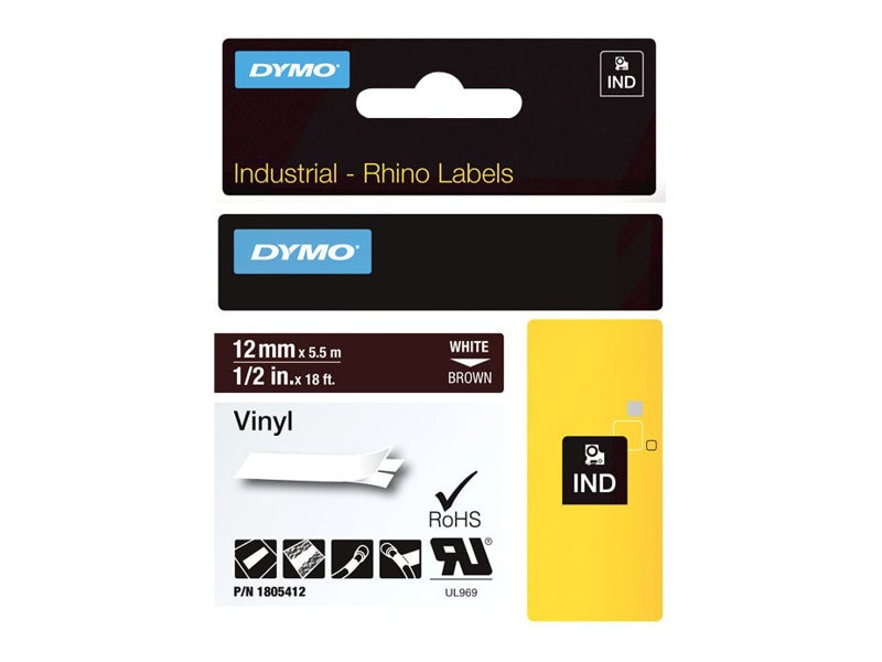 DYMO 1 2 Rhino Brown Vinyl Labels