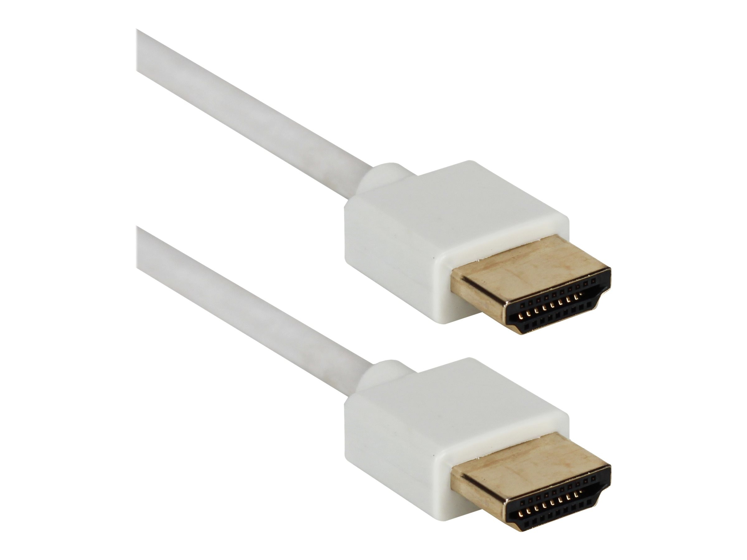 QVS High Speed HDMI Ultra HD 4K HDMI M M Cable with Ethernet, White, 6ft