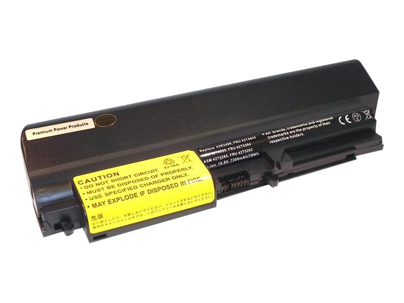 Ereplacements Battery, Li-Ion 7200mAh 10.8V 9-cell for Thinkpad R61 T61 (14.1 Widescreen) T400, 43R2499-ER, 13891017, Batteries - Notebook