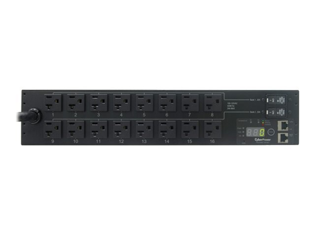 CyberPower Monitored PDU 120V 30A 2U RM Digital Display SNMP 5-30P 12ft Cord (16) 5-20R Front, PDU30MT16FNET