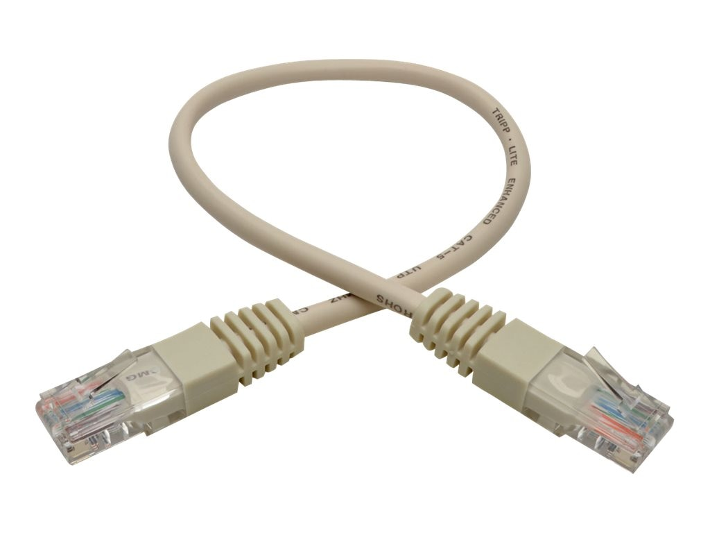 Tripp Lite Cat5e RJ-45 M M 350MHz Molded Patch Cable, White, 1ft, N002-001-WH