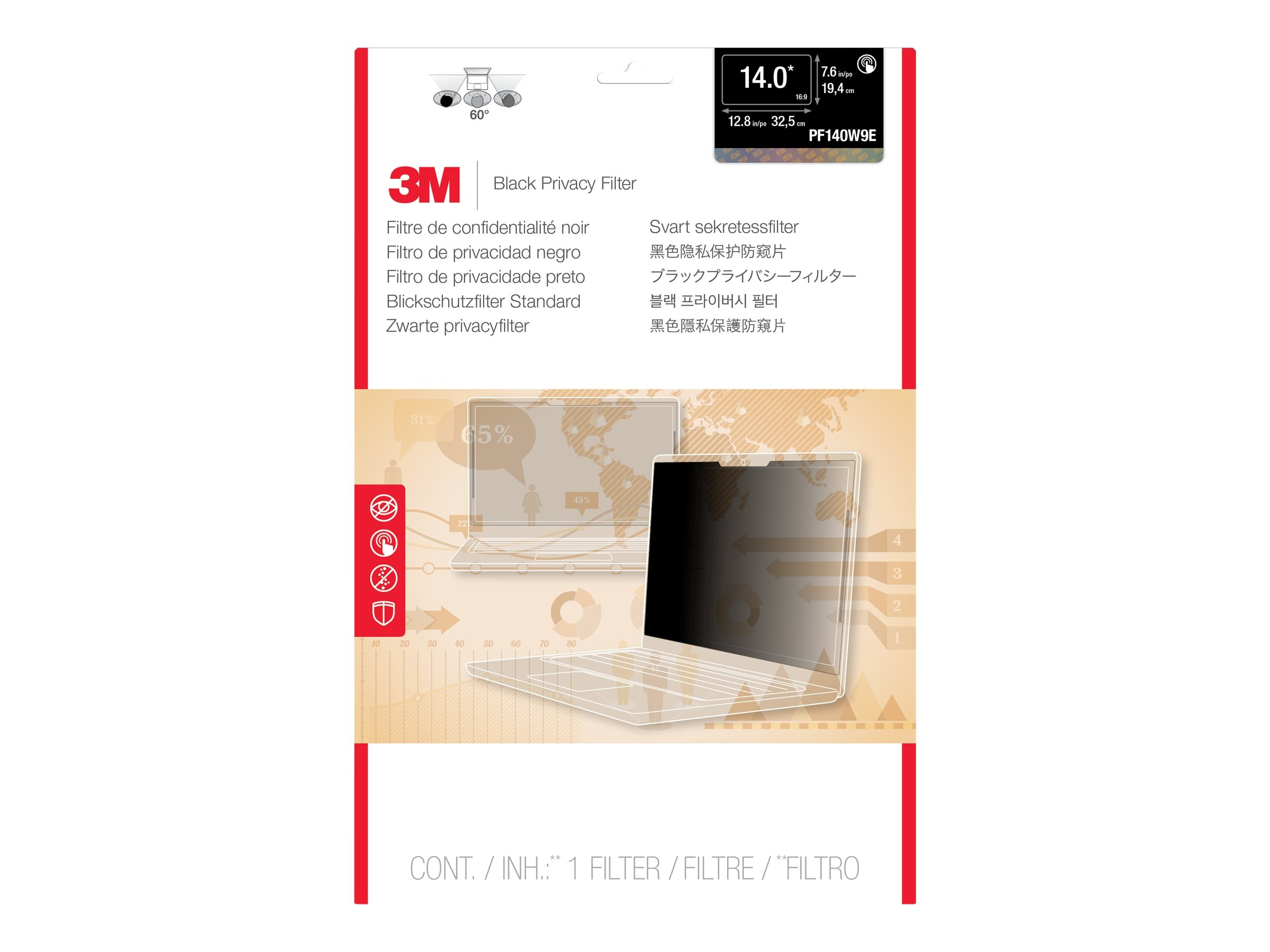 3M Privacy Filter for Edge-to-Edge 14.0 Widescreen Laptop, PF140W9E