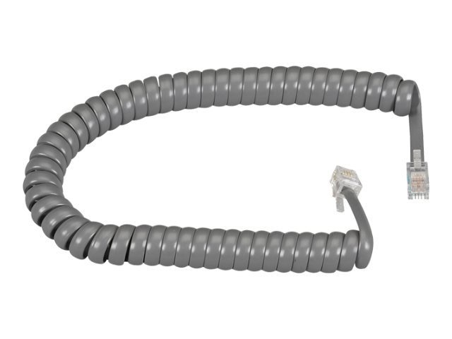 Black Box Modular Coiled Handset Cord, Dark Gray, 12ft