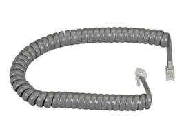 Black Box Modular Coiled Handset Cord, Dark Gray, 12ft, EJ302-0012, 7596628, Cables