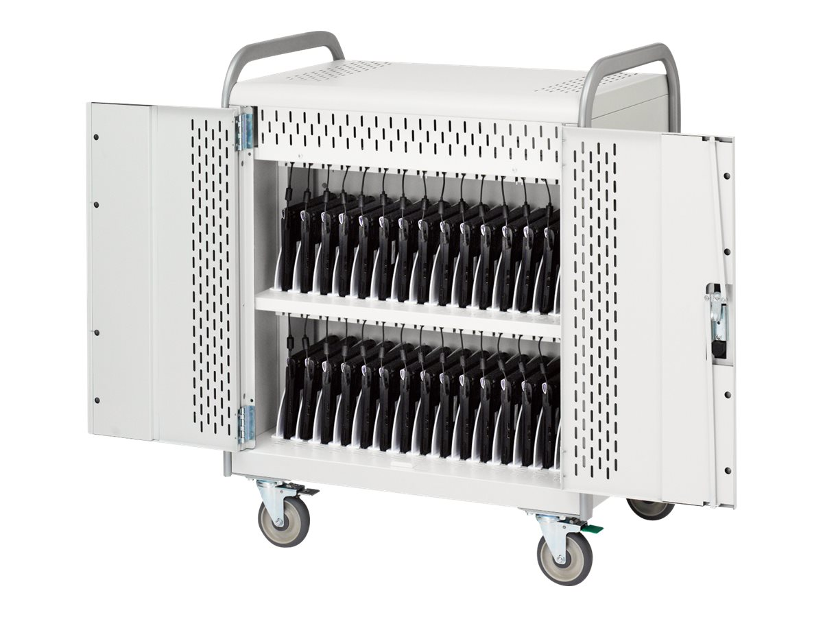 Bretford Manufacturing 30-Unit Laptop Storage Cart with Electric, 5in Casters, MDMLAP30-CTAL