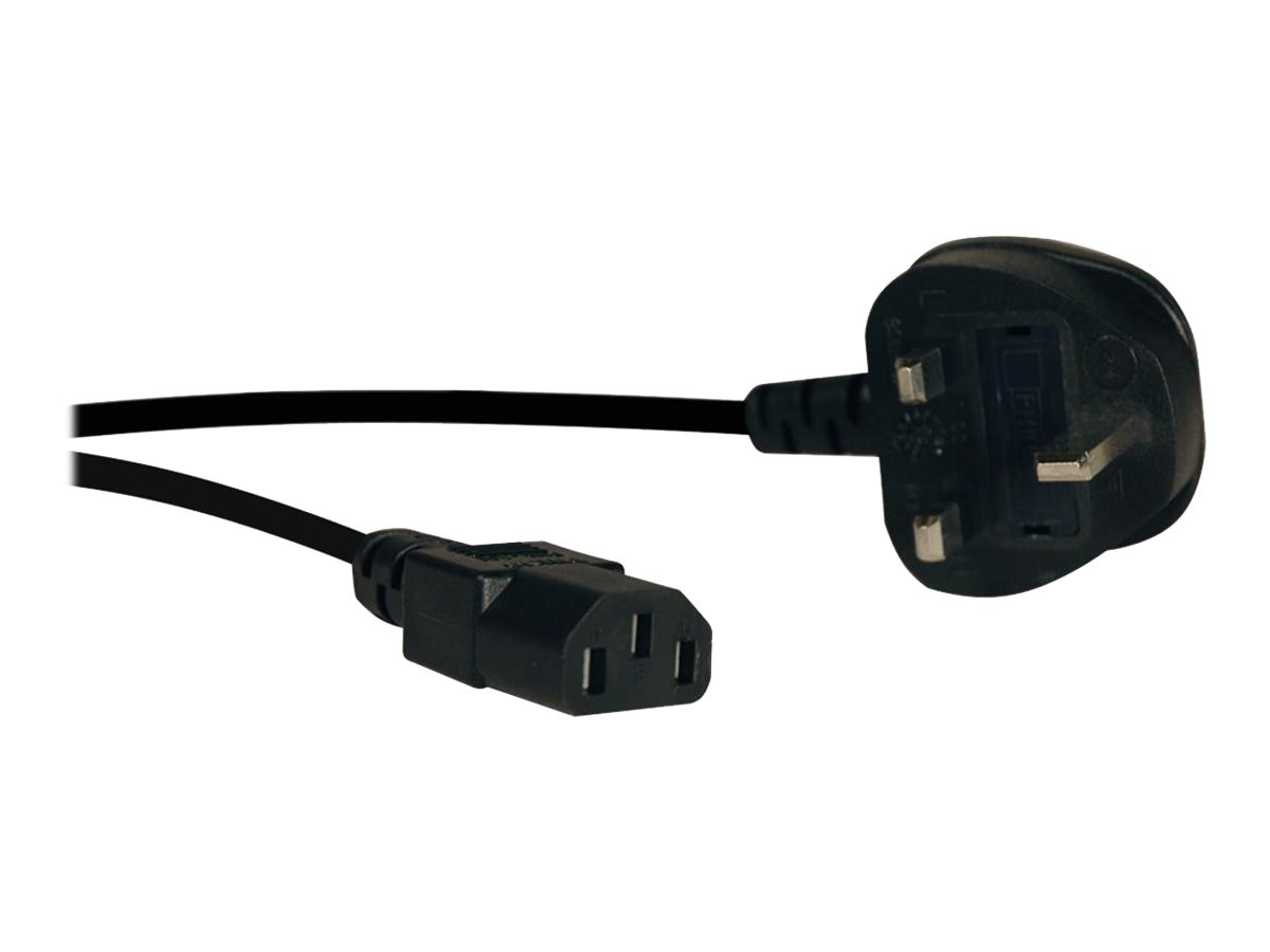 Tripp Lite Standard UK Computer Power Cord, 10A, IEC-320-C13 to BS-1363 UK Plug, 6ft, Black
