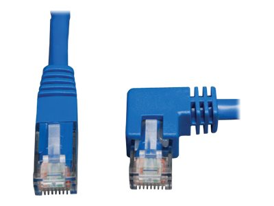 Tripp Lite Cat6 Patch Cable, Right Angle to Straight, Blue, 10ft, N204-010-BL-RA