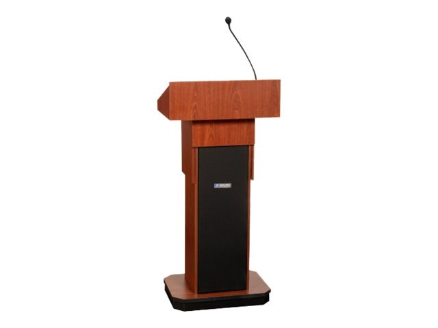 AmpliVox Executive Adjustable Height Lectern with Sound System, Mahogany
