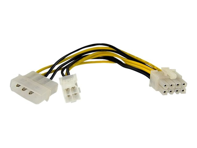 StarTech.com 4-Pin to 8-Pin EPS Power Adapter Cablewith LP4 (F-M), 6in, EPS48ADAP, 10448546, Cables