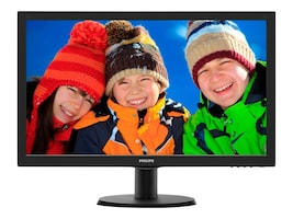 Philips 23.6 243V5LSB Full HD LED-LCD Monitor, Black, 243V5LSB, 18228214, Monitors