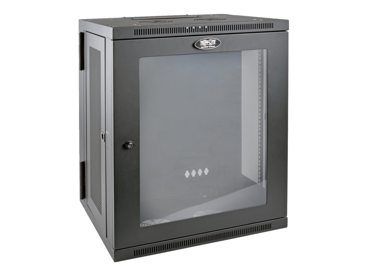 Tripp Lite SmartRack 15U Low-Profile Wall-Mount Rack Enclosure w  Clear Acrylic Window, Hinged Back