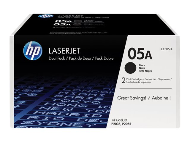 HP 05A (CE505D) 2-pack Black Original LaserJet Toner Cartridges, CE505D, 12829705, Toner and Imaging Components
