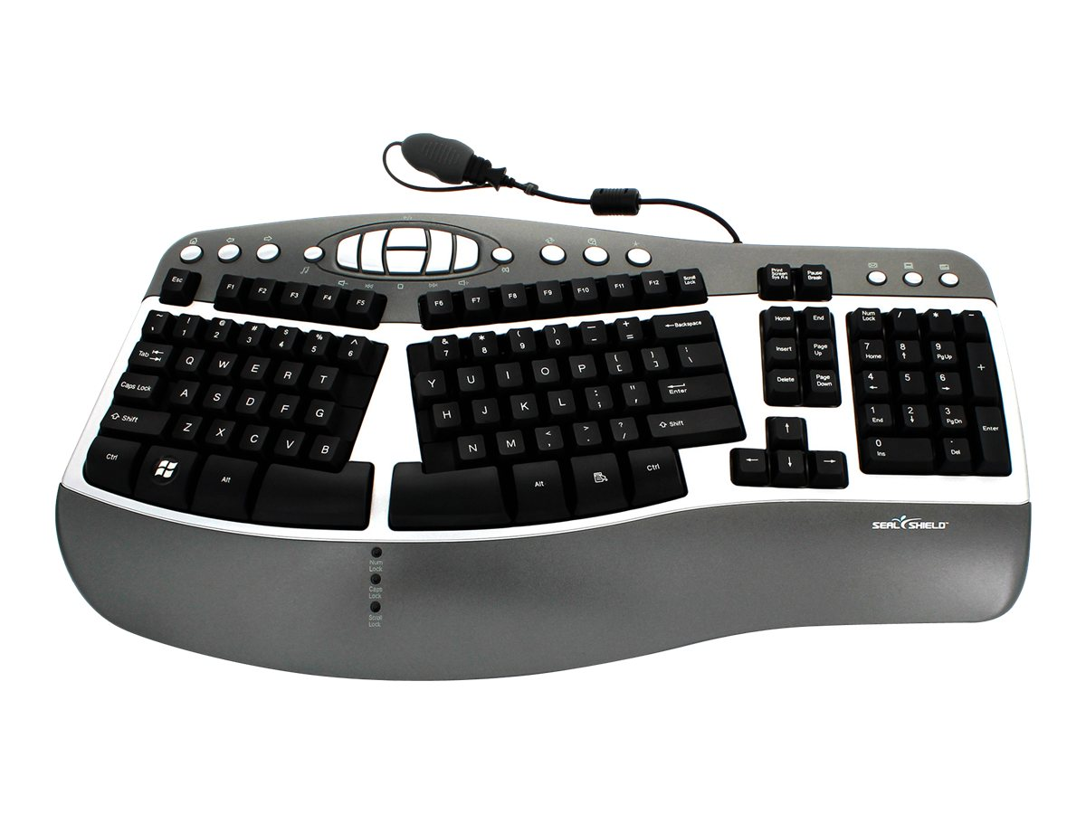 Seal Shield Silver Wave Ergonomic True Type Keyboard, USB, Corded, Waterproof Anti-microbial, Charcoal Silver