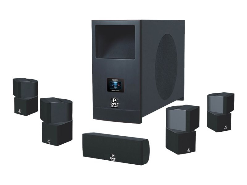 Pyle 5.1 Home Theater Speaker System with Active Subwoofer, (5) Satellite Speakers, PHSA5
