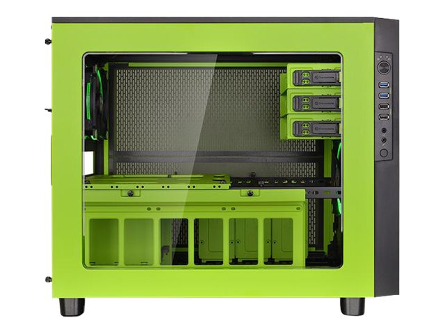 Thermaltake Chassis, Core X5 Green Riing Edition E-ATX 4x3.5 Bays 3x5.25 Bays 8xSlots 2xRiing Fans, Green, CA-1E8-00M8WN-00