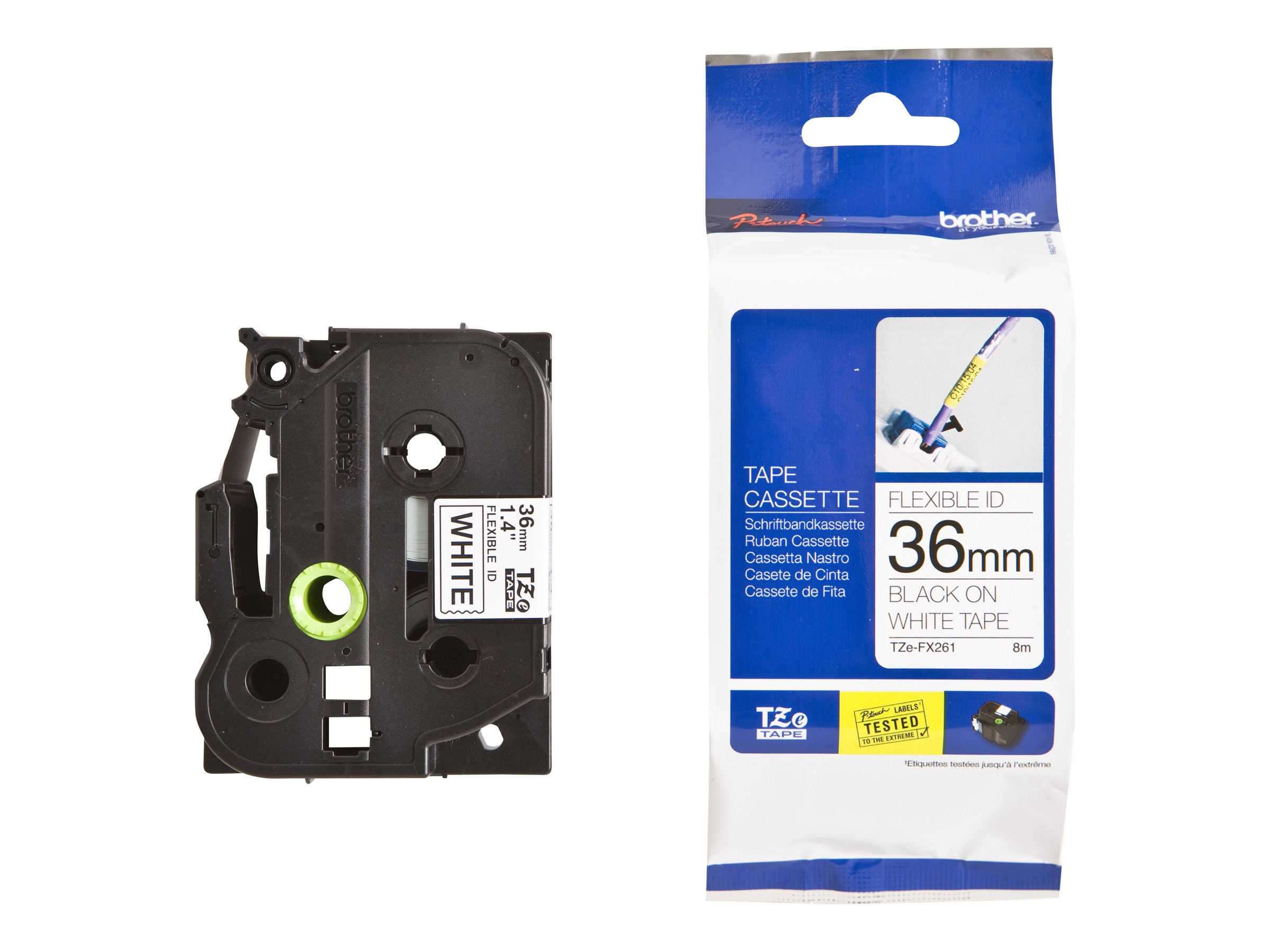 Brother 1.4 x 26.2' TZeFX261 Black on White Flexible ID Tape, TZE-FX261, 13058295, Paper, Labels & Other Print Media