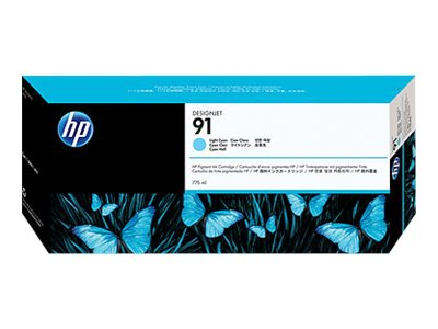 HP 91 Light Cyan Pigment Ink Cartridge (775-ml), C9470A, 7624983, Ink Cartridges & Ink Refill Kits