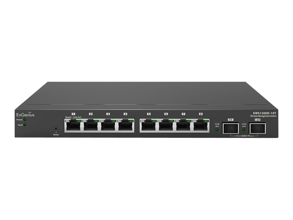 Engenius Technologies 8-Port GbE L2 Mngd Switch w WLAN & Ntwrk Mngmnt, EWS1200D-10T