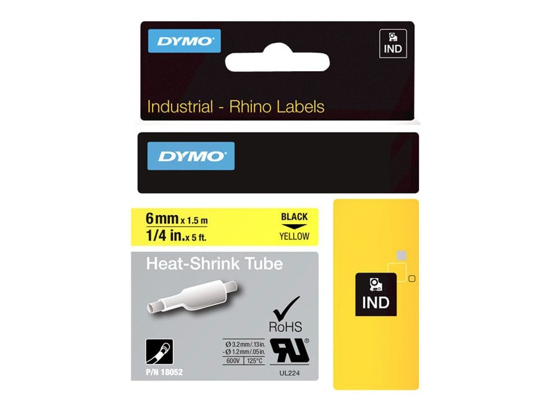 DYMO 1 4 Heat Shrink Tubing for RhinoPRO 5000, Yellow, 18052, 5981670, Paper, Labels & Other Print Media