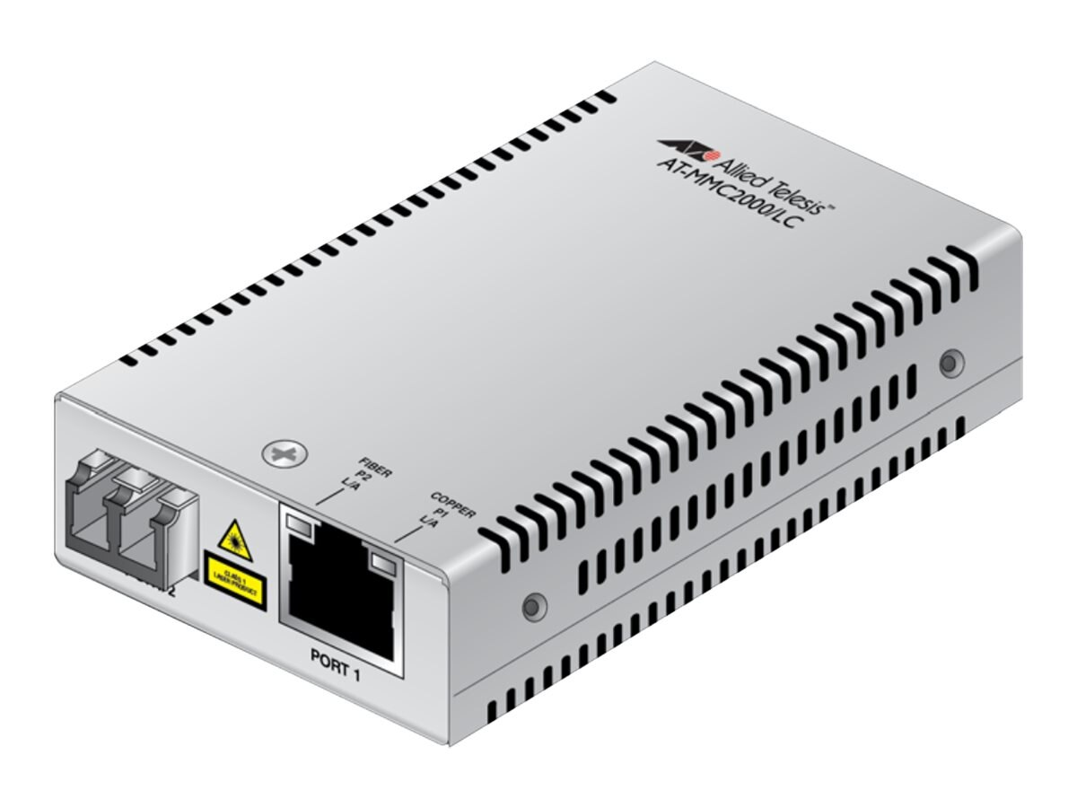Allied Telesis 10 100 1000T TO 1000X LC Mini Media Converter TAA, AT-MMC2000/LC-90, 20521621, Network Transceivers