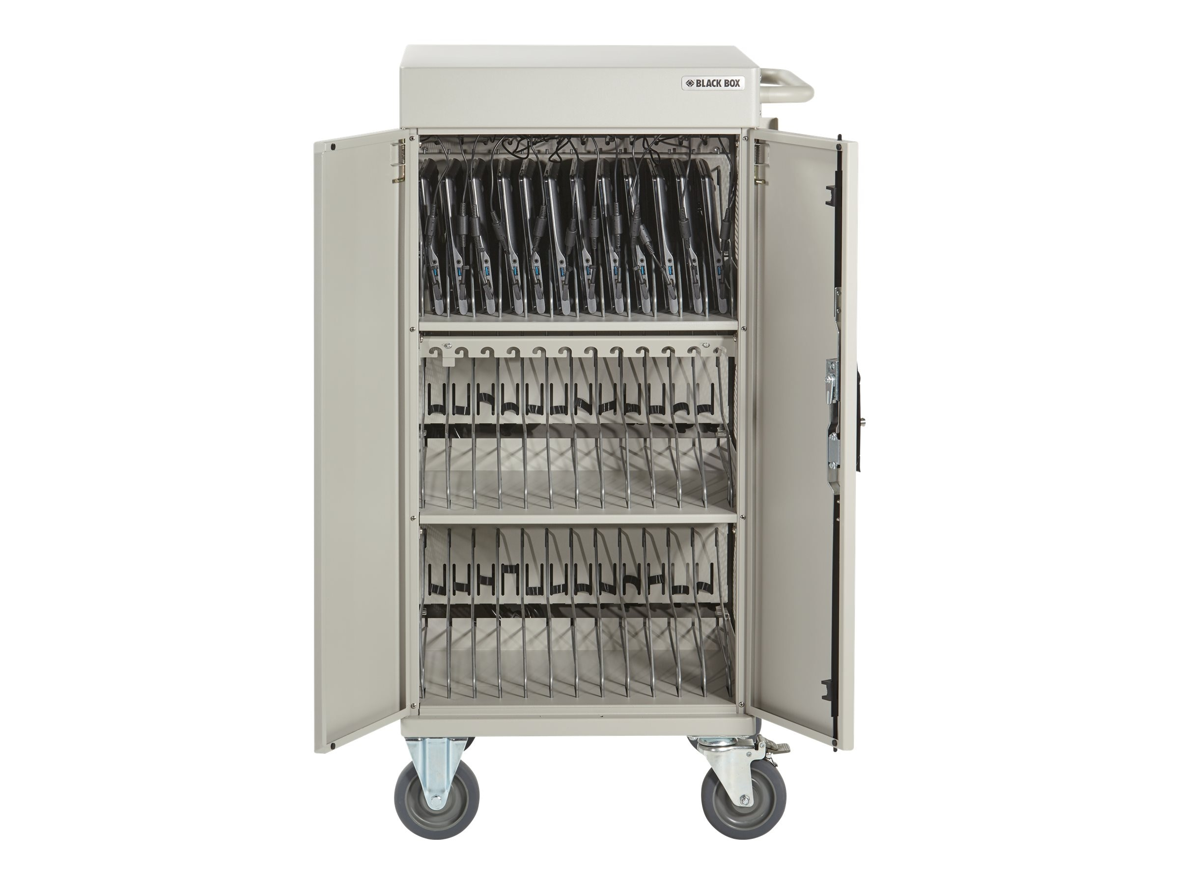 Black Box 30-Unit Standard Cart - Basic Distribution Charging, Hinged Door, Keylock, Front Cable Management