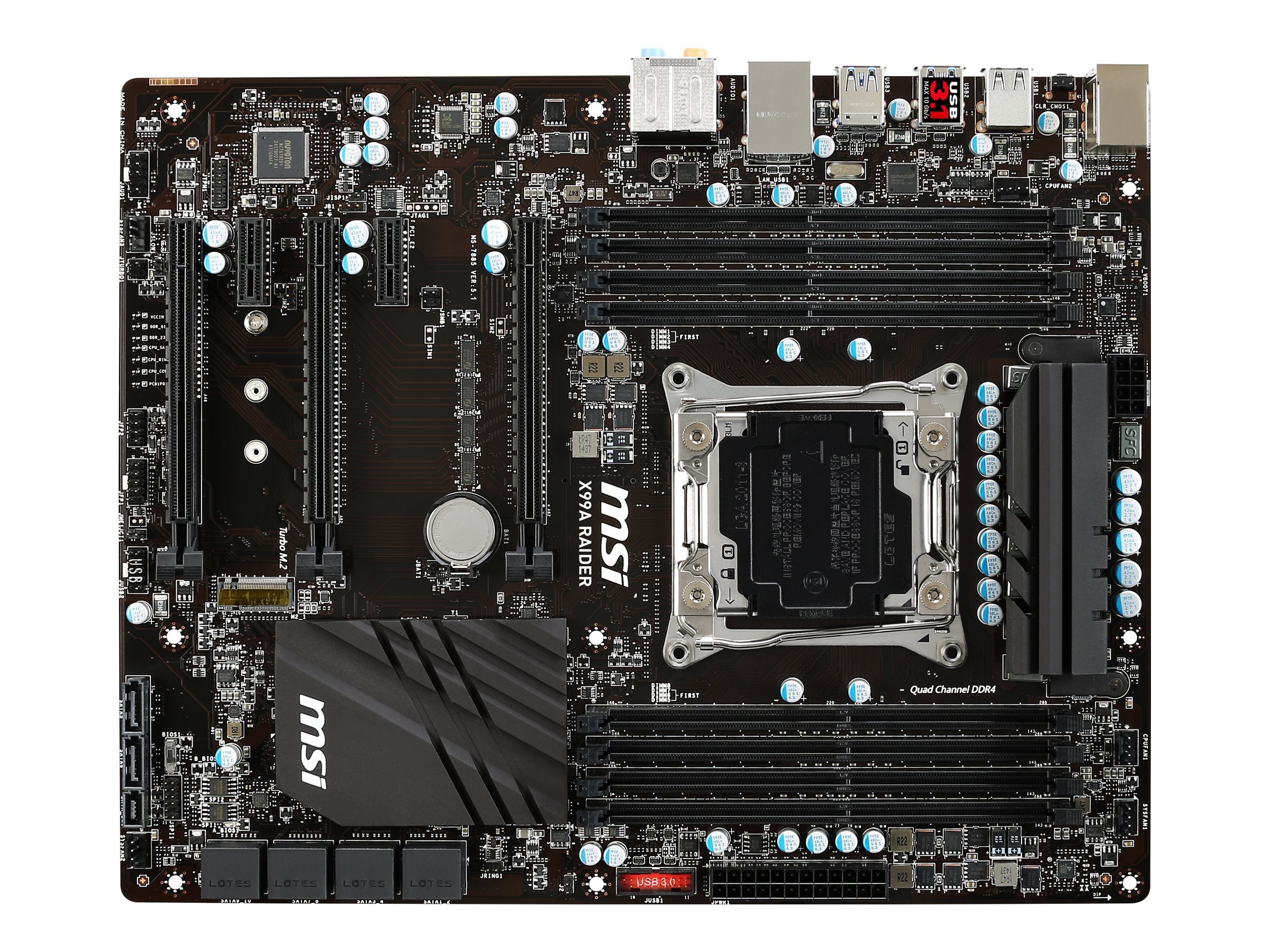 Microstar Motherboard, ATX X99 2011-3 Core i7 Extreme Family Max.128GB DDR4 10xSATA 5xPCIe GbE, X99A RAIDER, 24989511, Motherboards