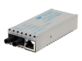 Omnitron miConveter 10 100 1000BT RJ45 to 1000B-SX ST MM 850NM 220 550M US, 1220-0-1, 9247667, Network Transceivers