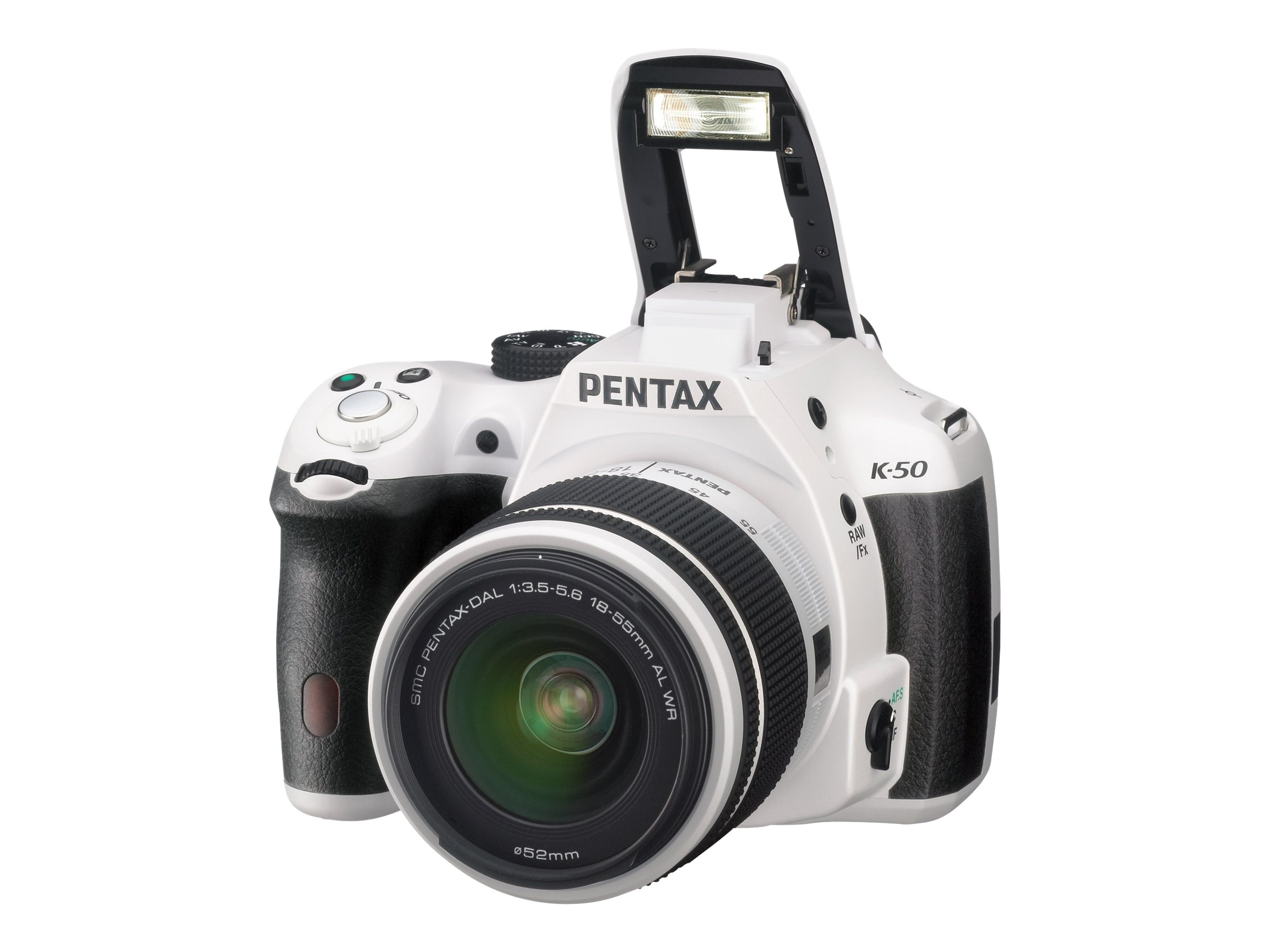 Pentax K-50 DSLR Camera with 18-55mm and 50-200mm Lenses, White, 10950, 26692228, Cameras - Digital - SLR
